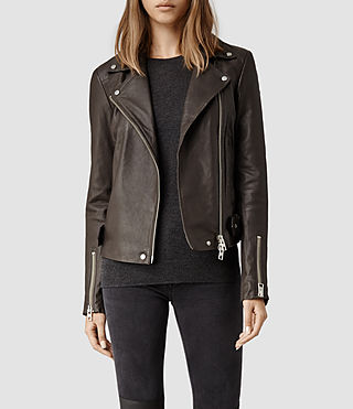Womens Ayers Leather Biker Jacket (Anthracite)