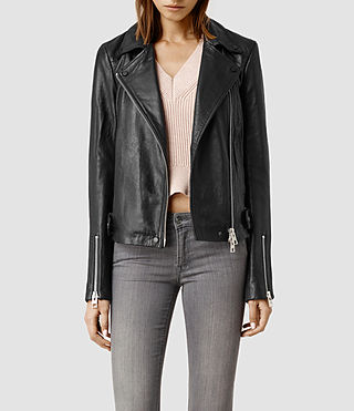 Womens Ayers Leather Biker Jacket (Black)