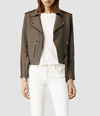 Womens Hayes Leather Biker Jacket (Matte Anthracite)