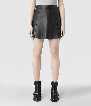 Womens Sens Leather Skirt (Black) - product_image_alt_text_1