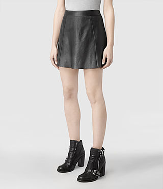 Womens Sens Leather Skirt (Black) - product_image_alt_text_3