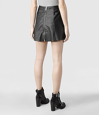Womens Sens Leather Skirt (Black) - product_image_alt_text_4