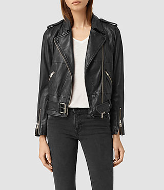 Damen Routledge Leather Biker Jacket (Black)