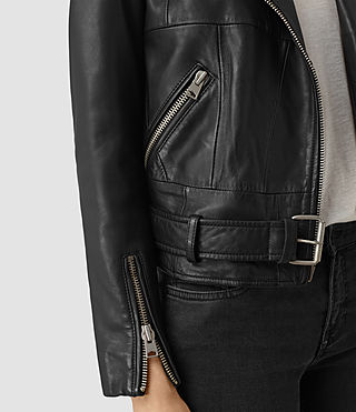 Women's Routledge Leather Biker Jacket (Black) - product_image_alt_text_2
