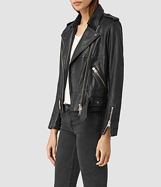 Women's Routledge Leather Biker Jacket (Black) - product_image_alt_text_3