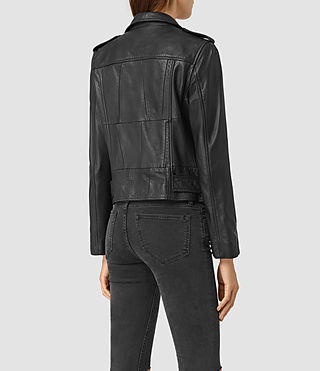 Women's Routledge Leather Biker Jacket (Black) - product_image_alt_text_4