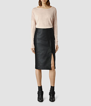 Womens Levitt Leather Skirt (Black)