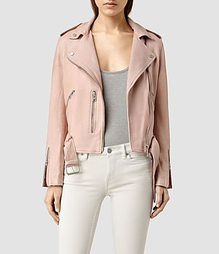 Damen Wyatt Leather Biker Jacket (BLUSH PINK)