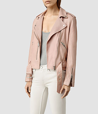 Womens Wyatt Leather Biker Jacket (BLUSH PINK) - product_image_alt_text_2