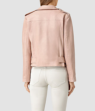 Mujer Wyatt Leather Biker Jacket (BLUSH PINK) - product_image_alt_text_3