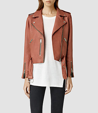 Womens Wyatt Leather Biker Jacket (Rose)