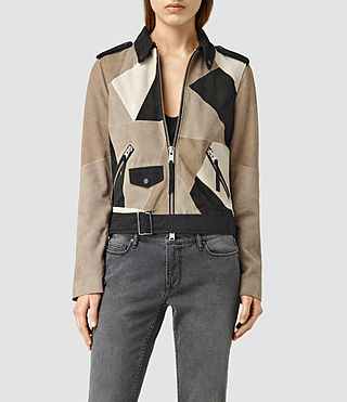 Womens Turner Suede Biker Jacket (Brown)
