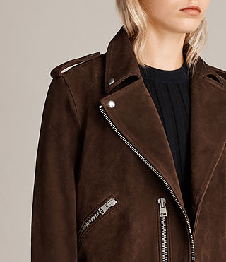 Women's Suede Balfern Biker Jacket (MAHOGANY BROWN) - product_image_alt_text_2
