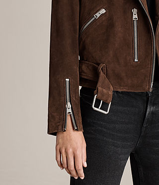 Women's Suede Balfern Biker Jacket (MAHOGANY BROWN) - product_image_alt_text_4