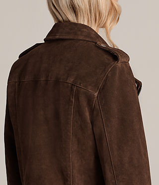 Women's Suede Balfern Biker Jacket (MAHOGANY BROWN) - product_image_alt_text_7