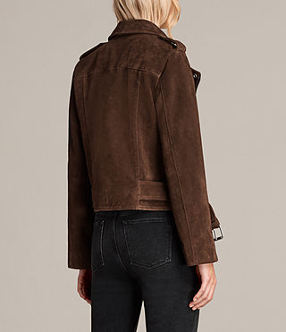 Women's Suede Balfern Biker Jacket (MAHOGANY BROWN) - product_image_alt_text_8