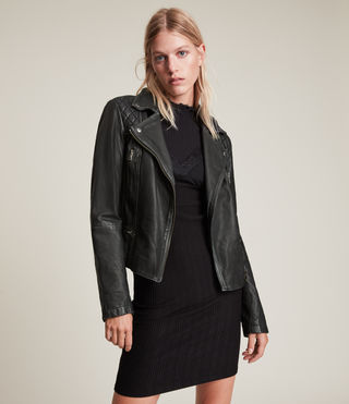 Damen Cargo Leather Biker Jacket (Black/Grey)