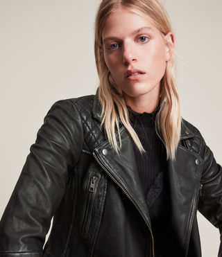 Womens Cargo Leather Biker Jacket (Black/Grey) - Image 2