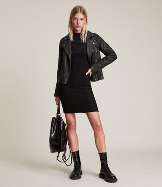Mujer Cargo Leather Biker Jacket (Black/Grey) - product_image_alt_text_3