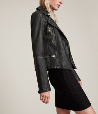 Women's Cargo Leather Biker Jacket (Black/Grey) - product_image_alt_text_4