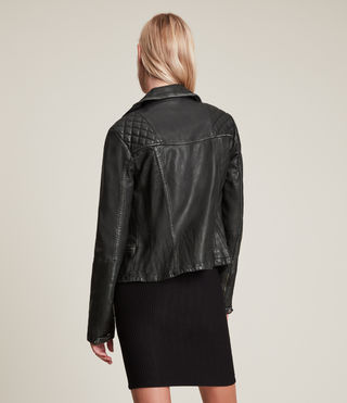 Women's Cargo Leather Biker Jacket (Black/Grey) - product_image_alt_text_8