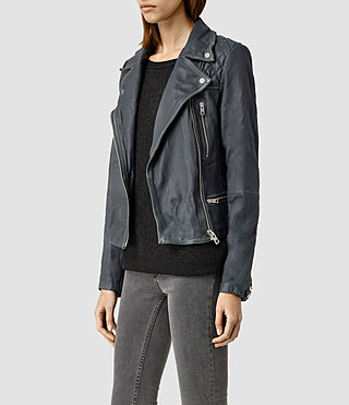 Womens Cargo Leather Biker Jacket (Black/Grey) - product_image_alt_text_2
