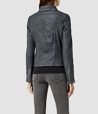 Womens Cargo Leather Biker Jacket (Black/Grey) - product_image_alt_text_3