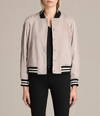Womens Gresley Suede Bomber Jacket (Wshd Pink) - product_image_alt_text_1