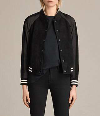 Womens Gresley Suede Bomber Jacket (Black)