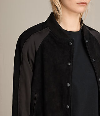 Damen Gresley Suede Bomber Jacket (Black) - product_image_alt_text_2