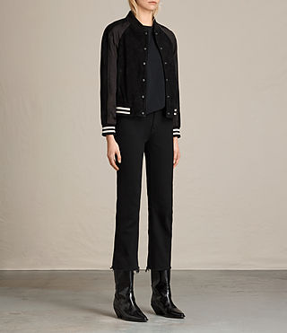 Damen Gresley Suede Bomber Jacket (Black) - product_image_alt_text_3