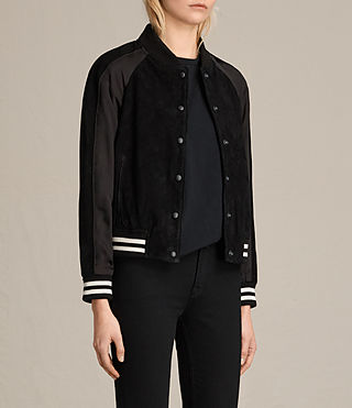 Damen Gresley Suede Bomber Jacket (Black) - product_image_alt_text_4