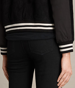 Damen Gresley Suede Bomber Jacket (Black) - product_image_alt_text_6