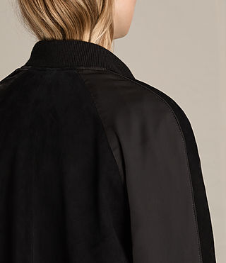 Damen Gresley Suede Bomber Jacket (Black) - product_image_alt_text_7
