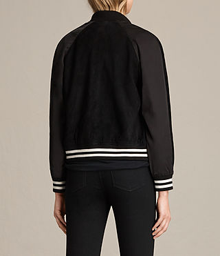 Damen Gresley Suede Bomber Jacket (Black) - product_image_alt_text_8