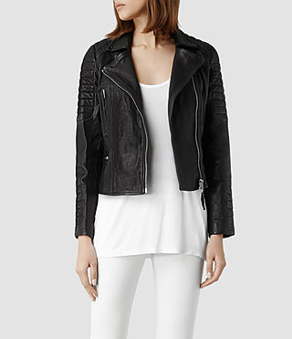 Womens Pitch Leather Biker Jacket (Black) - product_image_alt_text_1