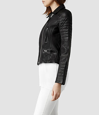 Womens Pitch Leather Biker Jacket (Black) - product_image_alt_text_2