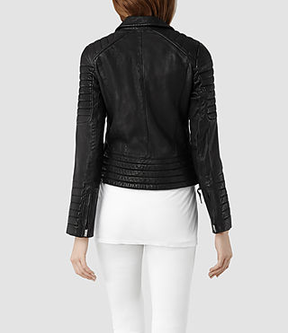 Womens Pitch Leather Biker Jacket (Black) - product_image_alt_text_3