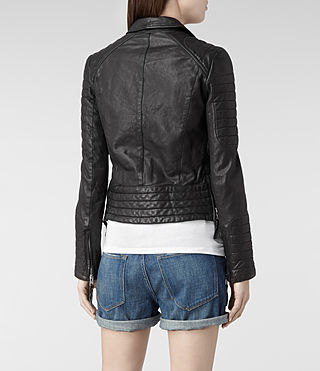 Womens Pitch Leather Biker Jacket (Black) - product_image_alt_text_5