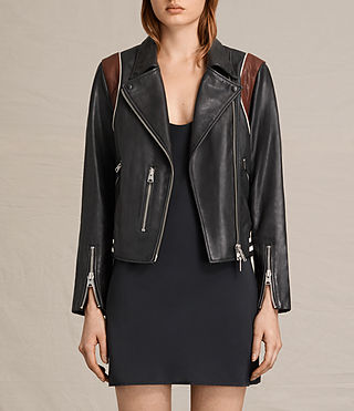 Damen Panel Balfern Leather Bomber Jacket (Black/Bordeaux) -