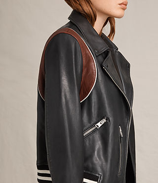Women's Panel Balfern Leather Bomber Jacket (Black/Bordeaux) - product_image_alt_text_3