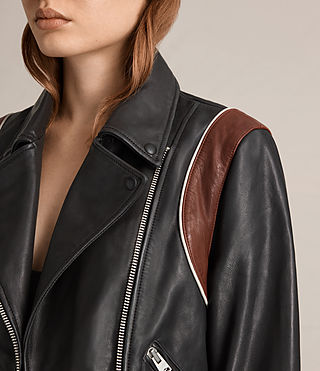 Damen Panel Balfern Leather Bomber Jacket (Black/Bordeaux) - product_image_alt_text_4