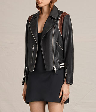 Women's Panel Balfern Leather Bomber Jacket (Black/Bordeaux) - product_image_alt_text_6