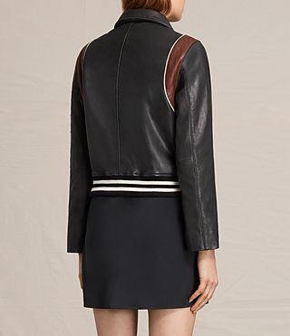 Women's Panel Balfern Leather Bomber Jacket (Black/Bordeaux) - product_image_alt_text_8