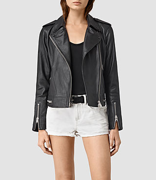 Damen Bourne Leather Biker Jacket (Black)