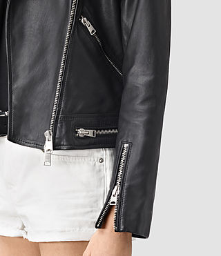 Donne Bourne Leather Biker Jacket (Black) - product_image_alt_text_2