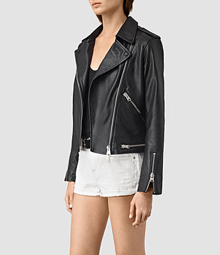 Donne Bourne Leather Biker Jacket (Black) - product_image_alt_text_3