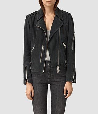 Femmes Edwards Suede Biker Jacket (Petrol Blue)