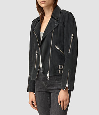 Femmes Edwards Suede Biker Jacket (Petrol Blue) - product_image_alt_text_2