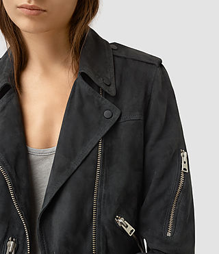 Femmes Edwards Suede Biker Jacket (Petrol Blue) - product_image_alt_text_3